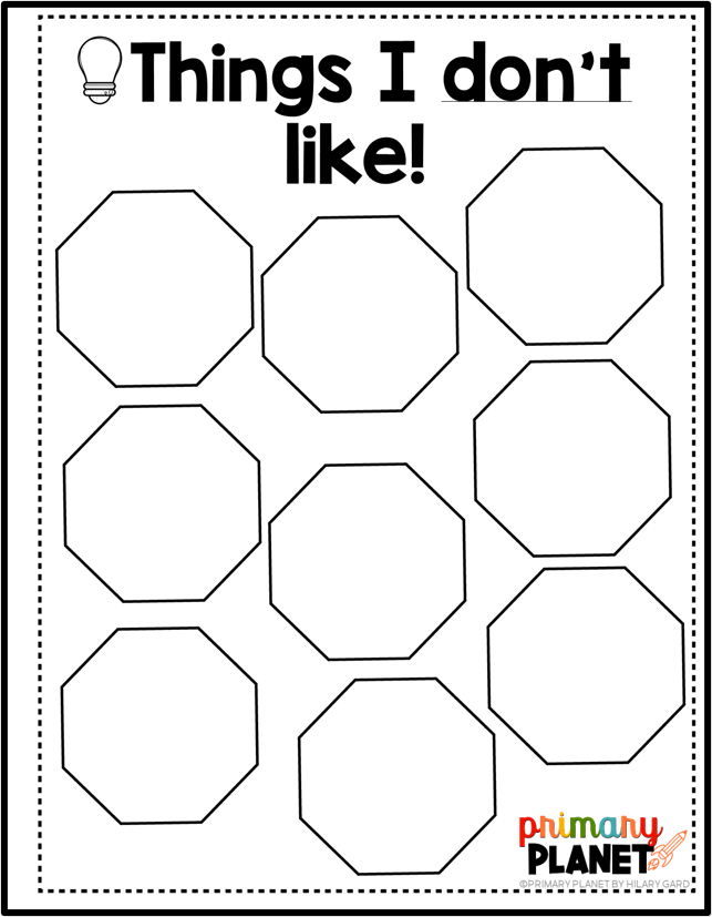 """Mini lessons for writing ideas brainstorming graphic organizer """"Things I don't Like""""."""