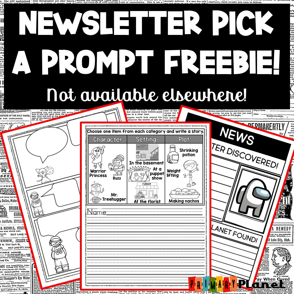 Newsletter Writing Prompts with Pictures Freebie