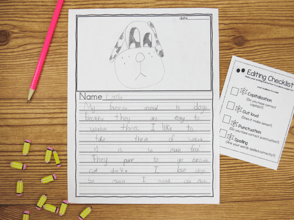Writing paper with built in graphic organizers.
