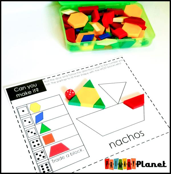 Math Games with Dice | Printable Pattern Block Mats | Junk Food
