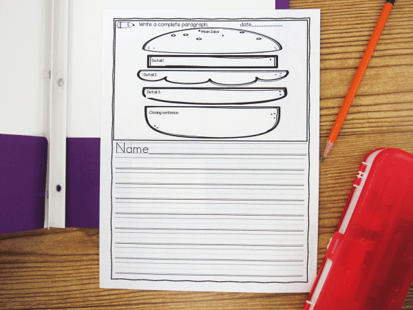 Writing paper with built in graphic organizers. Hamburger Graphic Organizer